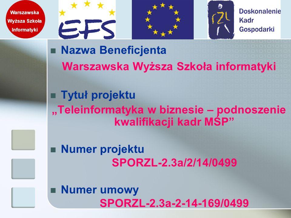Nazwa Beneficjenta Warszawska Wyższa Szkoła informatyki Tytuł projektu Teleinformatyka w biznesie – podnoszenie kwalifikacji kadr MŚP Numer projektu S