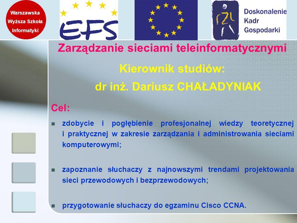 Zarządzanie sieciami teleinformatycznymi Kierownik studiów: dr inż. Dariusz CHAŁADYNIAK Cel: zdobycie i pogłębienie profesjonalnej wiedzy teoretycznej