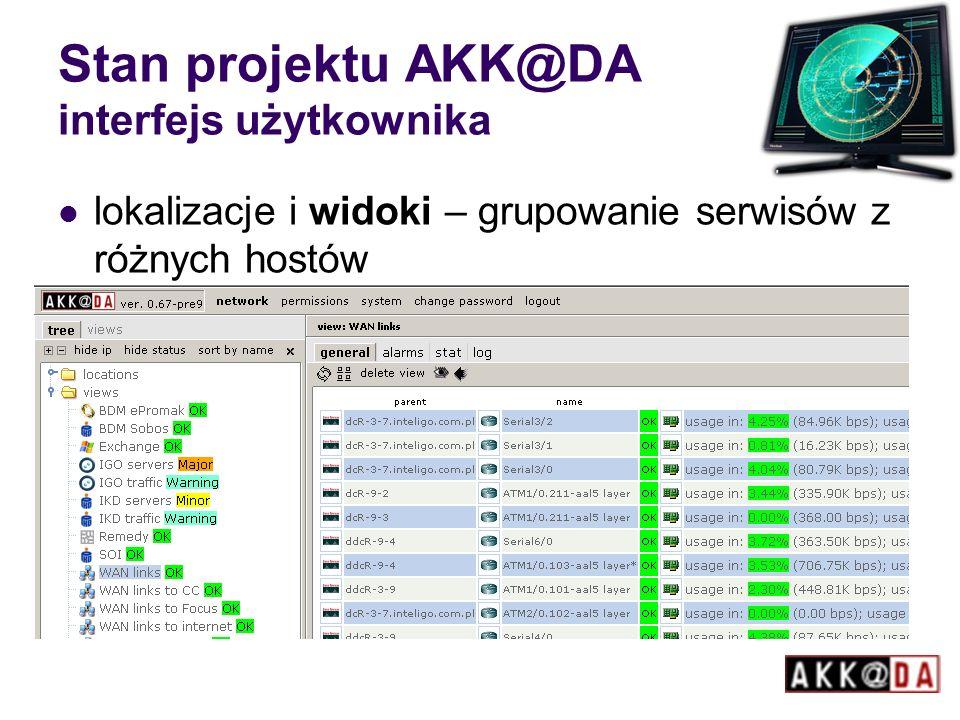 Stan projektu AKK@DA interfejs użytkownika lokalizacje i widoki – grupowanie serwisów z różnych hostów