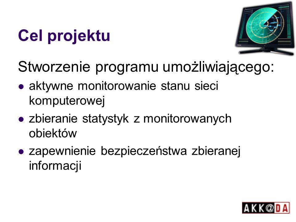 Cel projektu Stworzenie programu umożliwiającego: aktywne monitorowanie stanu sieci komputerowej zbieranie statystyk z monitorowanych obiektów zapewnienie bezpieczeństwa zbieranej informacji