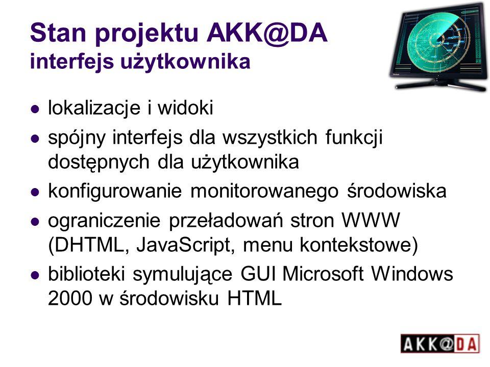 Stan projektu AKK@DA interfejs użytkownika lokalizacje i widoki spójny interfejs dla wszystkich funkcji dostępnych dla użytkownika konfigurowanie monitorowanego środowiska ograniczenie przeładowań stron WWW (DHTML, JavaScript, menu kontekstowe) biblioteki symulujące GUI Microsoft Windows 2000 w środowisku HTML