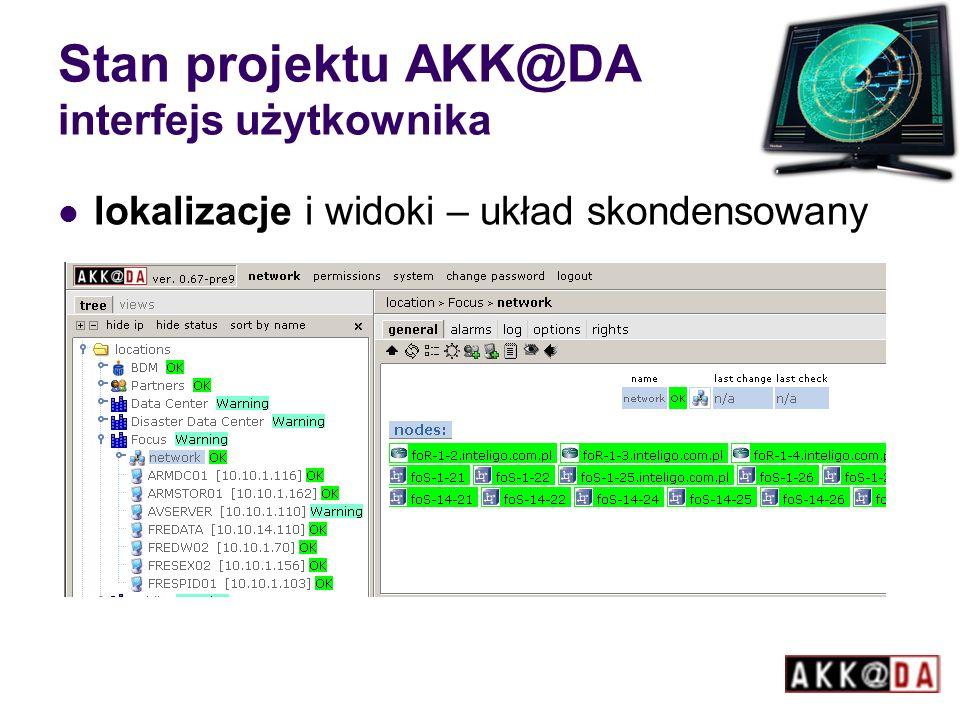 Stan projektu AKK@DA interfejs użytkownika lokalizacje i widoki – układ skondensowany