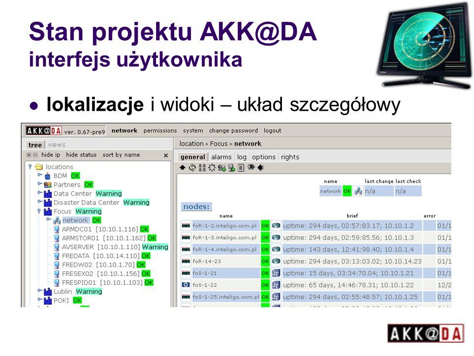 Stan projektu AKK@DA interfejs użytkownika lokalizacje i widoki – układ szczegółowy