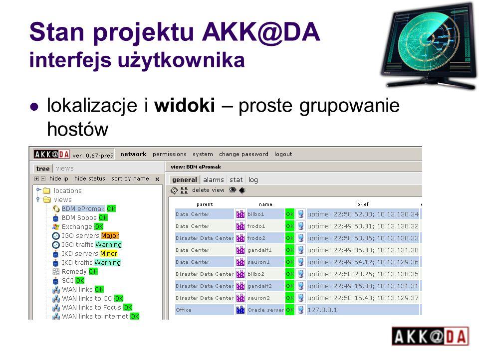 Stan projektu AKK@DA interfejs użytkownika lokalizacje i widoki – proste grupowanie hostów