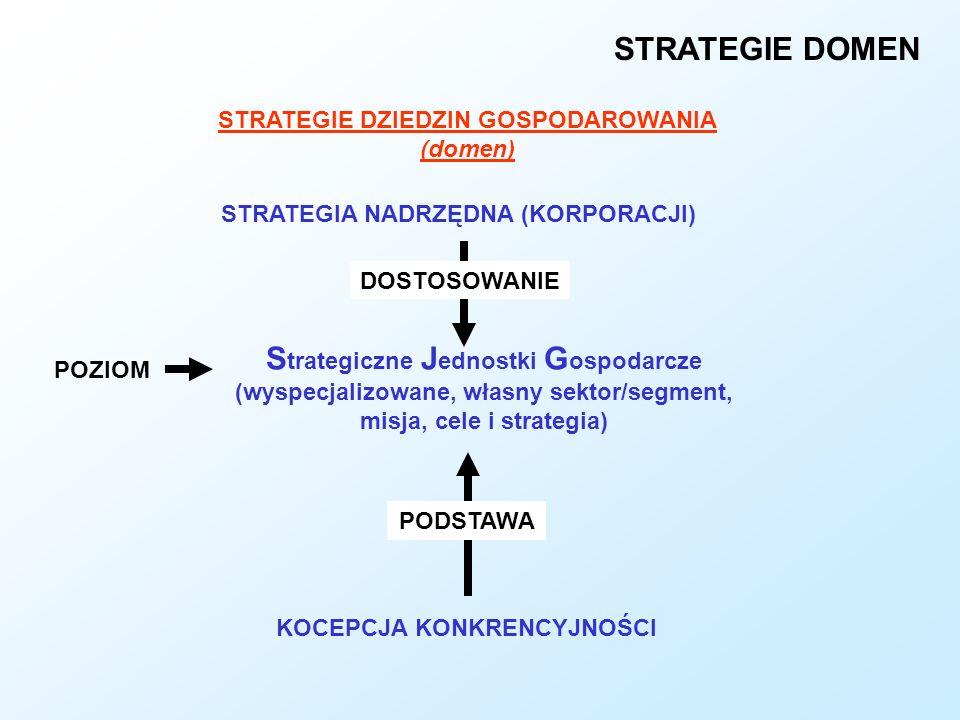STRATEGIE DOMEN STRATEGIE DZIEDZIN GOSPODAROWANIA (domen) S trategiczne J ednostki G ospodarcze (wyspecjalizowane, własny sektor/segment, misja, cele