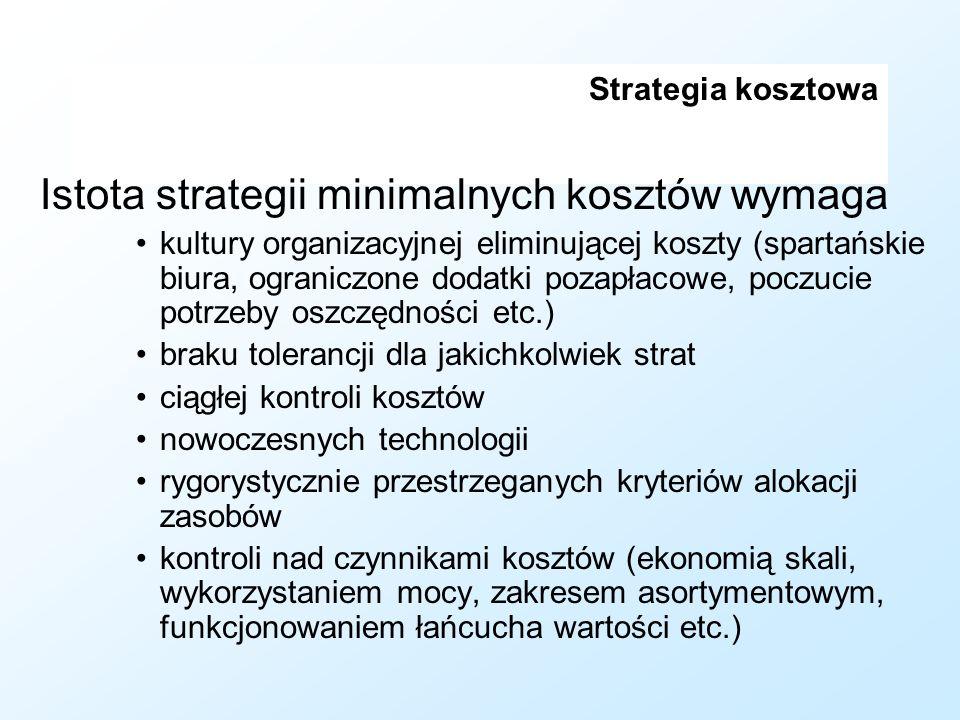 Strategia kosztowa Istota strategii minimalnych kosztów wymaga kultury organizacyjnej eliminującej koszty (spartańskie biura, ograniczone dodatki poza