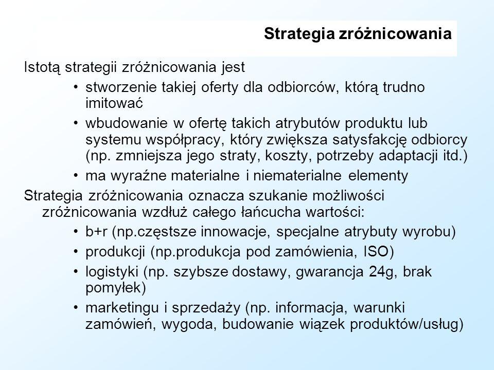 Strategia zróżnicowania Istotą strategii zróżnicowania jest stworzenie takiej oferty dla odbiorców, którą trudno imitować wbudowanie w ofertę takich a