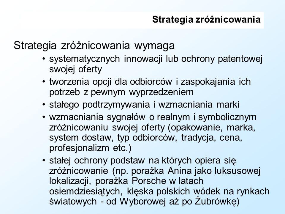 Strategia zróżnicowania Strategia zróżnicowania wymaga systematycznych innowacji lub ochrony patentowej swojej oferty tworzenia opcji dla odbiorców i