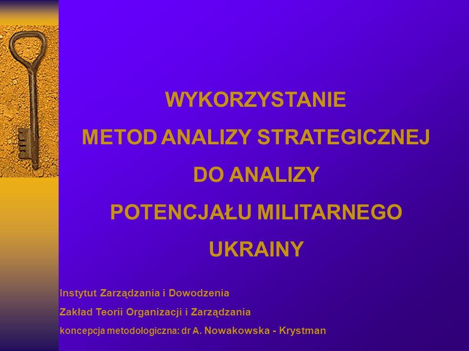 WYKORZYSTANIE METOD ANALIZY STRATEGICZNEJ DO ANALIZY POTENCJAŁU MILITARNEGO UKRAINY Instytut Zarządzania i Dowodzenia Zakład Teorii Organizacji i Zarządzania koncepcja metodologiczna: dr A.
