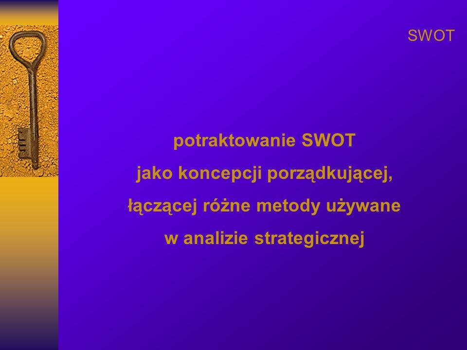 SWOT potraktowanie SWOT jako koncepcji porządkującej, łączącej różne metody używane w analizie strategicznej
