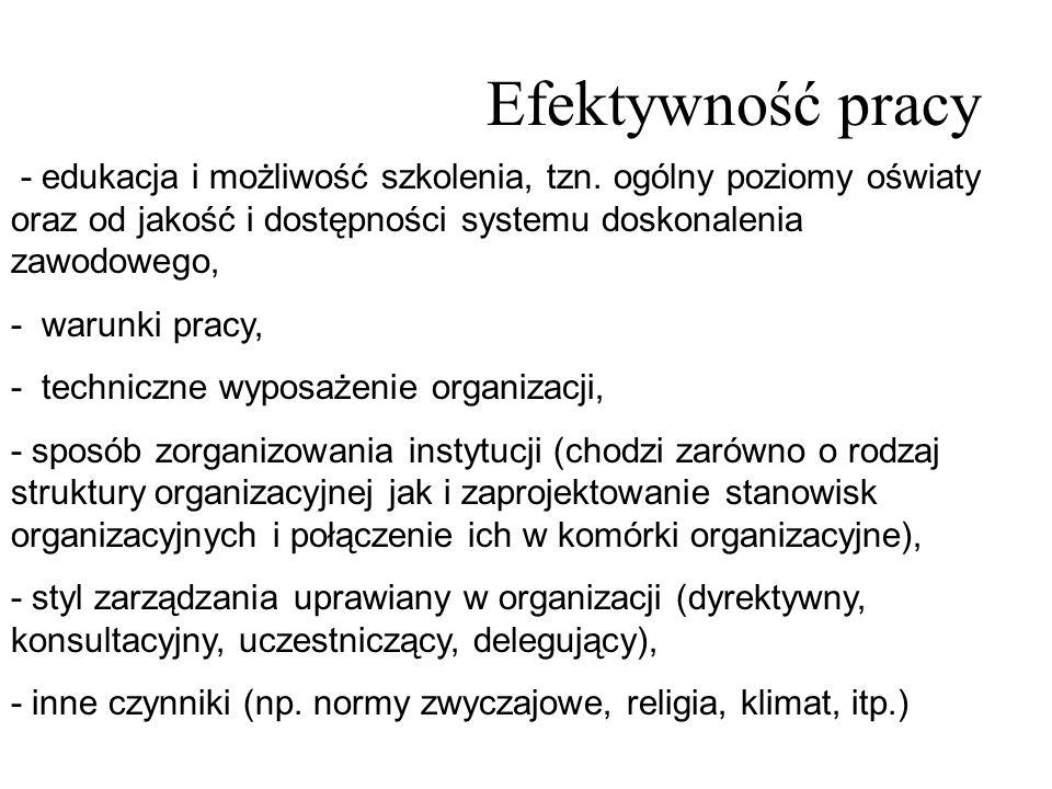 Efektywność pracy - edukacja i możliwość szkolenia, tzn. ogólny poziomy oświaty oraz od jakość i dostępności systemu doskonalenia zawodowego, - warunk
