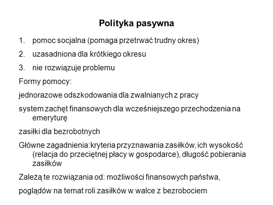 Polityka pasywna 1.pomoc socjalna (pomaga przetrwać trudny okres) 2.uzasadniona dla krótkiego okresu 3.nie rozwiązuje problemu Formy pomocy: jednorazo