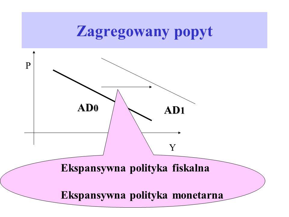 Zagregowany popyt P AD 0 Y AD 1 Ekspansywna polityka fiskalna Ekspansywna polityka monetarna