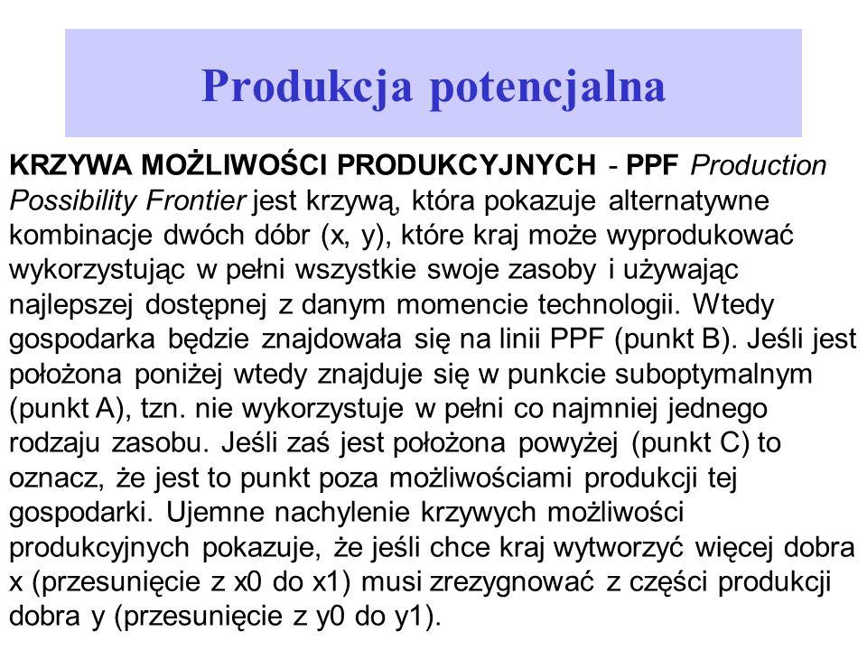 Produkcja potencjalna KRZYWA MOŻLIWOŚCI PRODUKCYJNYCH - PPF Production Possibility Frontier jest krzywą, która pokazuje alternatywne kombinacje dwóch