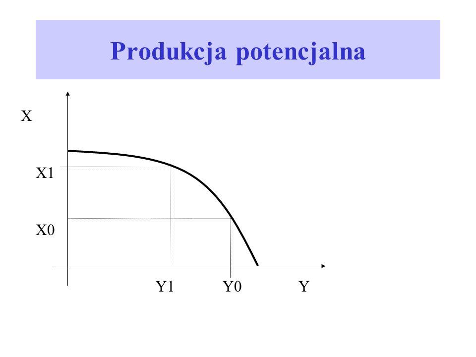 Produkcja potencjalna X X1 X0 Y1 Y0Y