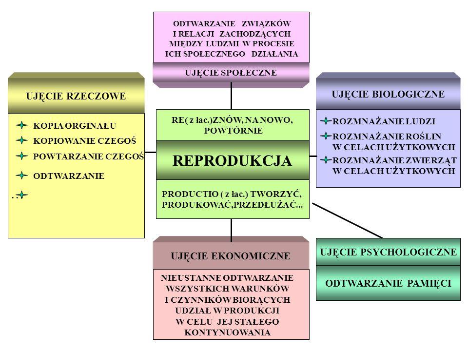 UJĘCIE SPOŁECZNE RE( z łac.)ZNÓW, NA NOWO, POWTÓRNIE UJĘCIE EKONOMICZNE UJĘCIE RZECZOWE UJĘCIE BIOLOGICZNE UJĘCIE PSYCHOLOGICZNE ODTWARZANIE PAMIĘCI R