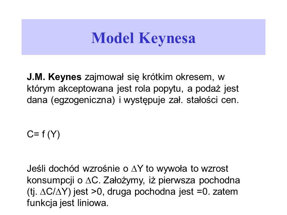 Model Keynesa J.M. Keynes zajmował się krótkim okresem, w którym akceptowana jest rola popytu, a podaż jest dana (egzogeniczna) i występuje zał. stało