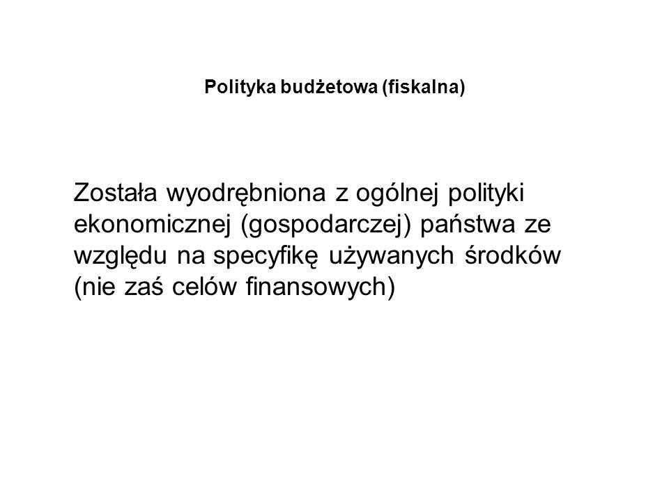 Polityka budżetowa (fiskalna) Została wyodrębniona z ogólnej polityki ekonomicznej (gospodarczej) państwa ze względu na specyfikę używanych środków (n