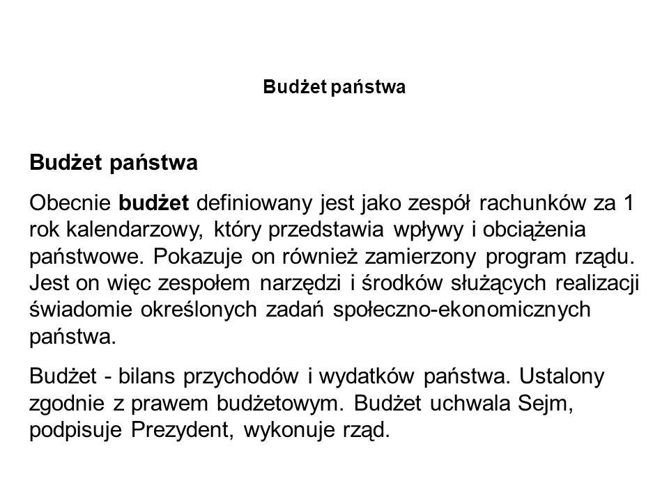 Dochody budżetu państwa tab.Składowe budżetu państwa polskiego I.