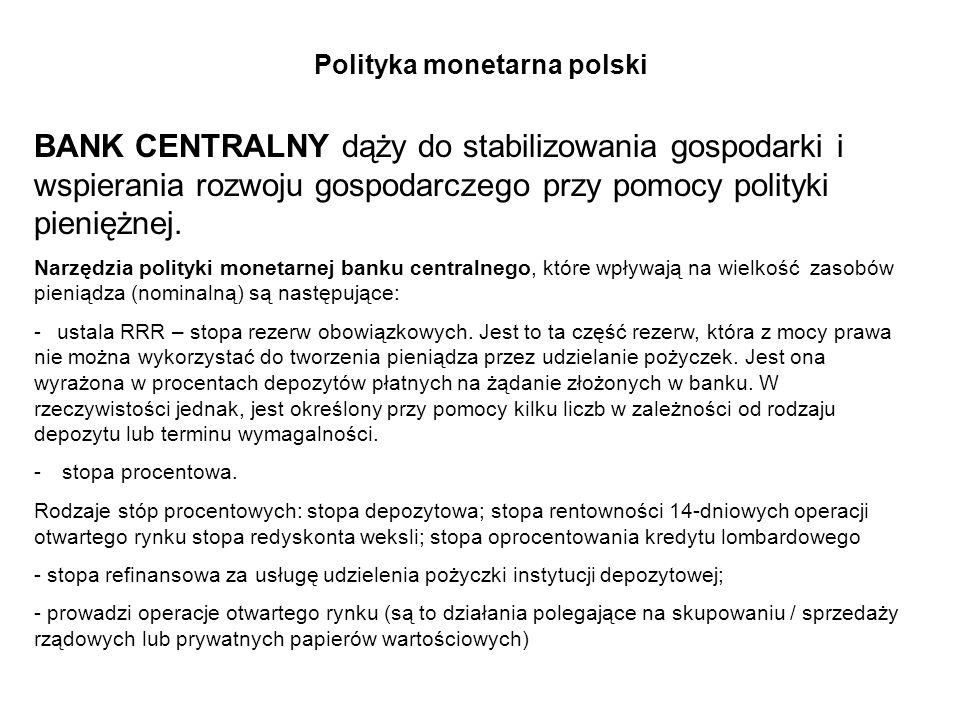 Polityka monetarna polski BANK CENTRALNY dąży do stabilizowania gospodarki i wspierania rozwoju gospodarczego przy pomocy polityki pieniężnej. Narzędz