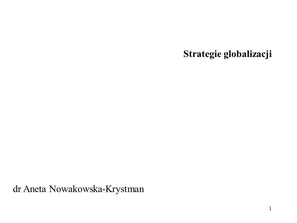 1 Strategie globalizacji dr Aneta Nowakowska-Krystman