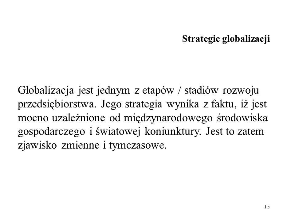 15 Strategie globalizacji Globalizacja jest jednym z etapów / stadiów rozwoju przedsiębiorstwa. Jego strategia wynika z faktu, iż jest mocno uzależnio