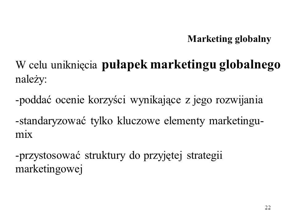 22 Marketing globalny W celu uniknięcia pułapek marketingu globalnego należy: -poddać ocenie korzyści wynikające z jego rozwijania -standaryzować tylk