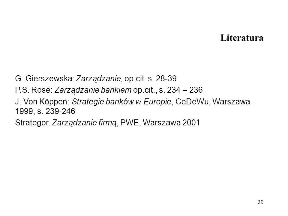 30 Literatura G. Gierszewska: Zarządzanie, op.cit. s. 28-39 P.S. Rose: Zarządzanie bankiem op.cit., s. 234 – 236 J. Von Köppen: Strategie banków w Eur