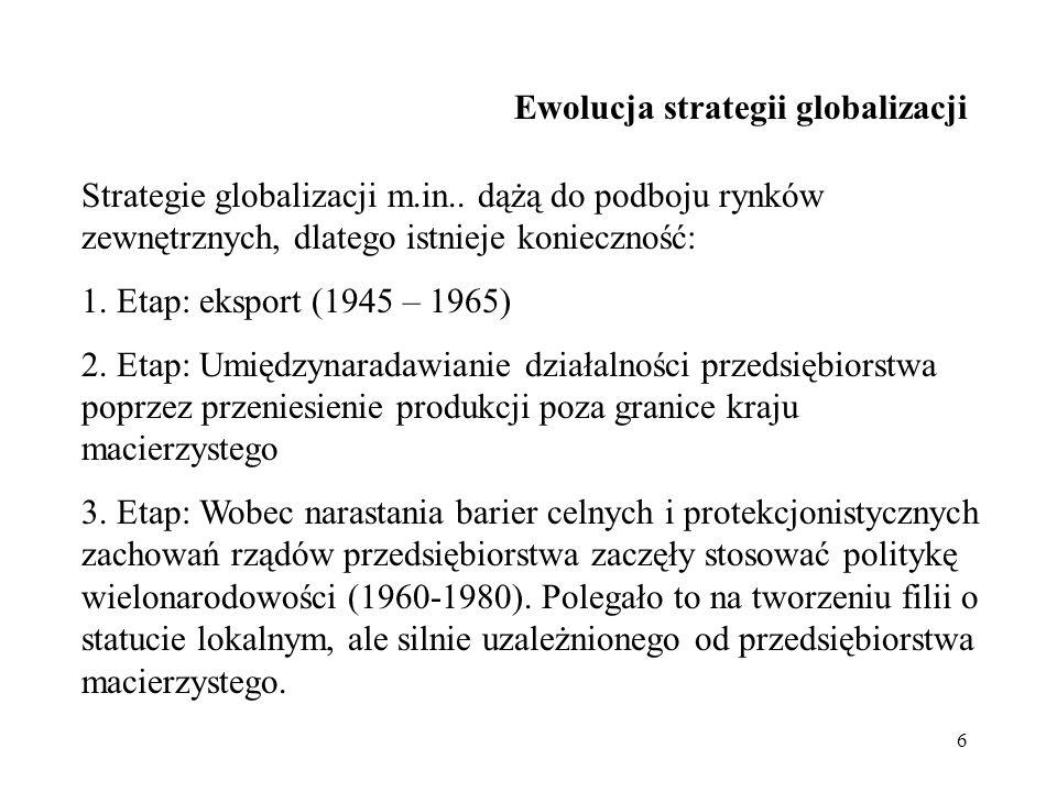 27 Strategia europeizacji i globalizacji nazwa strategii przyczyny podjęcia danego typu strategii Europeizacja - Globalizacja W latach 80.