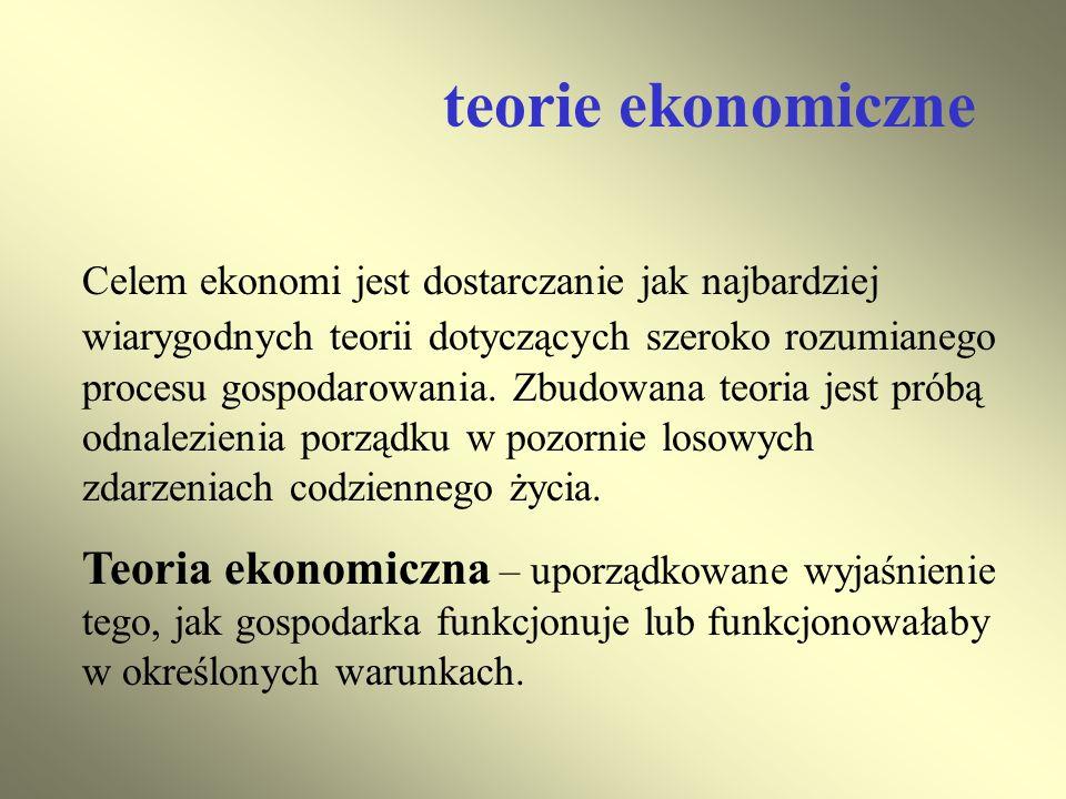 teorie ekonomiczne Celem ekonomi jest dostarczanie jak najbardziej wiarygodnych teorii dotyczących szeroko rozumianego procesu gospodarowania. Zbudowa
