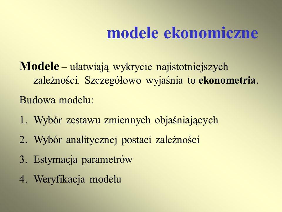 modele ekonomiczne Modele – ułatwiają wykrycie najistotniejszych zależności. Szczegółowo wyjaśnia to ekonometria. Budowa modelu: 1.Wybór zestawu zmien