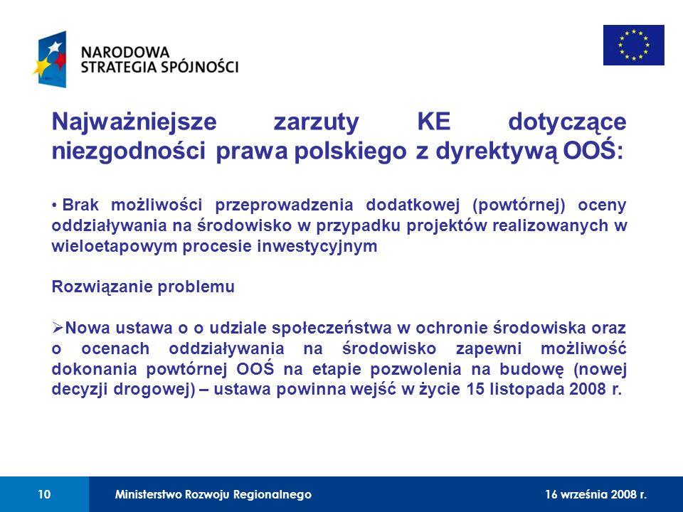 01 Najważniejsze zarzuty KE dotyczące niezgodności prawa polskiego z dyrektywą OOŚ: Brak możliwości przeprowadzenia dodatkowej (powtórnej) oceny oddzi
