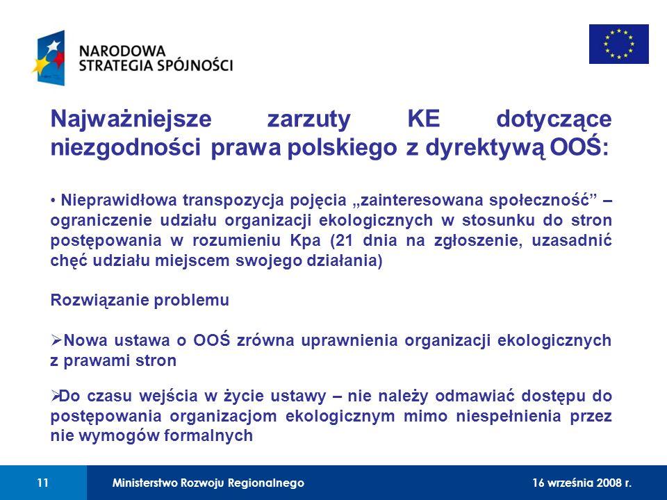 01 Najważniejsze zarzuty KE dotyczące niezgodności prawa polskiego z dyrektywą OOŚ: Nieprawidłowa transpozycja pojęcia zainteresowana społeczność – og