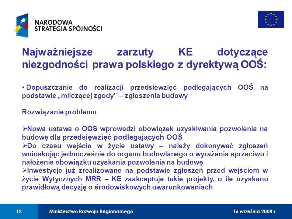 01 Najważniejsze zarzuty KE dotyczące niezgodności prawa polskiego z dyrektywą OOŚ: Dopuszczanie do realizacji przedsięwzięć podlegających OOŚ na pods