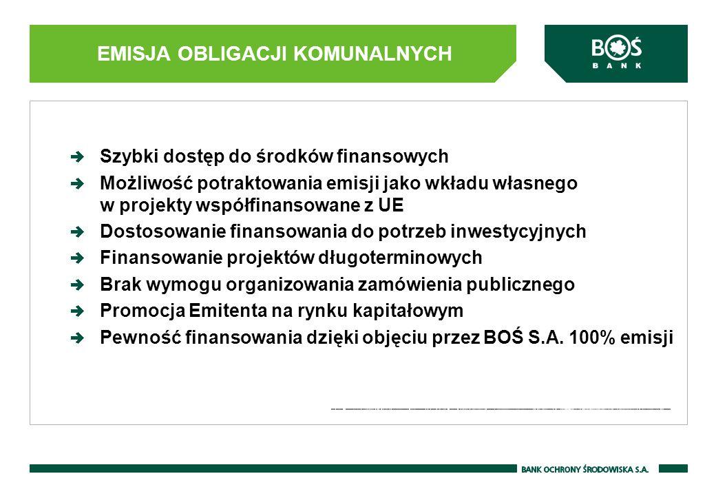 EMISJA OBLIGACJI KOMUNALNYCH Szybki dostęp do środków finansowych Możliwość potraktowania emisji jako wkładu własnego w projekty współfinansowane z UE