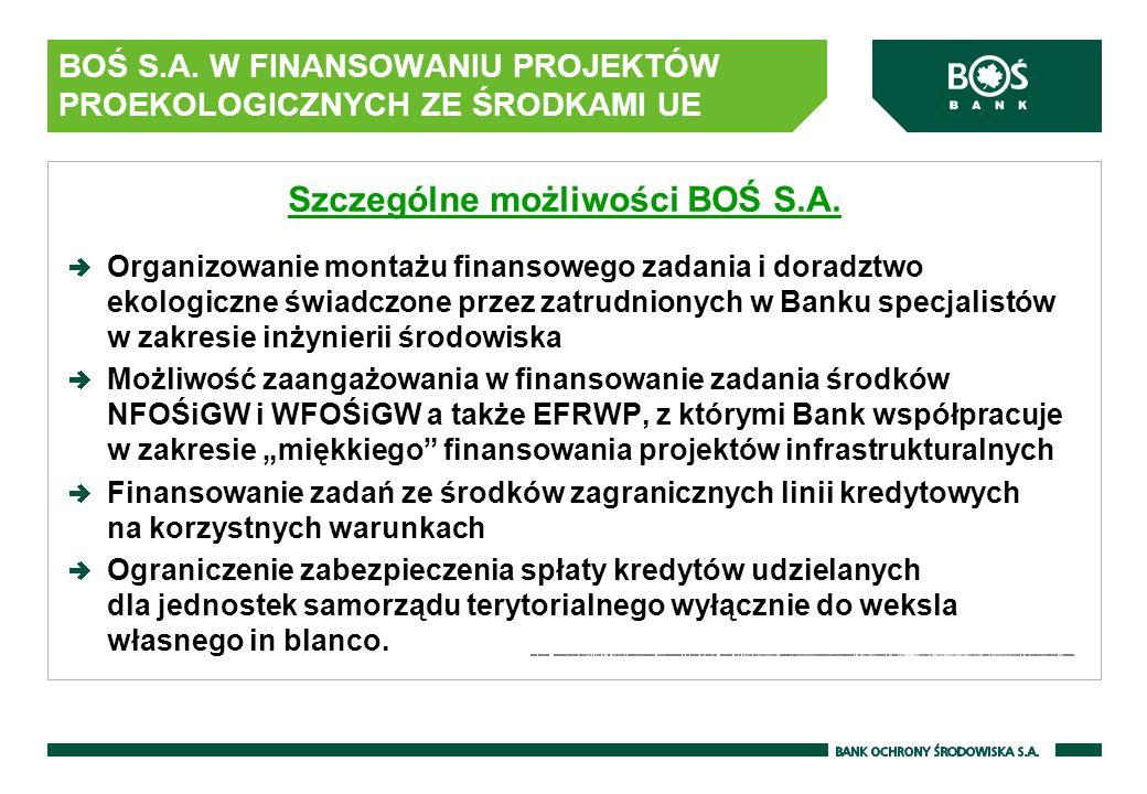 BOŚ S.A. W FINANSOWANIU PROJEKTÓW PROEKOLOGICZNYCH ZE ŚRODKAMI UE Szczególne możliwości BOŚ S.A. Organizowanie montażu finansowego zadania i doradztwo