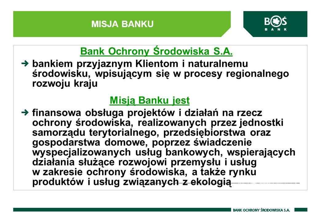 MISJA BANKU Bank Ochrony Środowiska S.A. bankiem przyjaznym Klientom i naturalnemu środowisku, wpisującym się w procesy regionalnego rozwoju kraju Mis