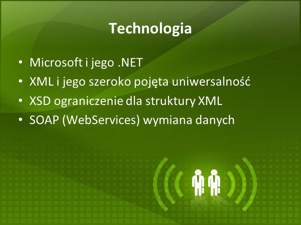 Technologia Microsoft i jego.NET XML i jego szeroko pojęta uniwersalność XSD ograniczenie dla struktury XML SOAP (WebServices) wymiana danych