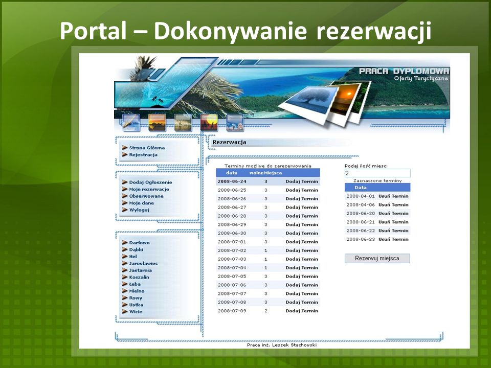 Portal – Dokonywanie rezerwacji