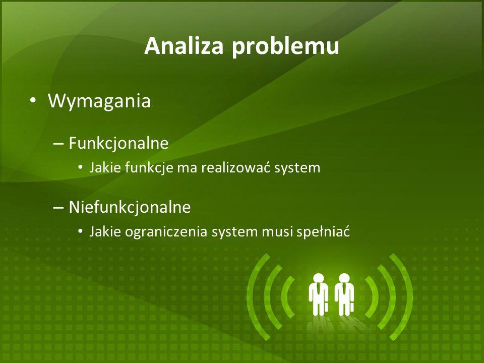 Analiza problemu Wymagania – Funkcjonalne Jakie funkcje ma realizować system – Niefunkcjonalne Jakie ograniczenia system musi spełniać