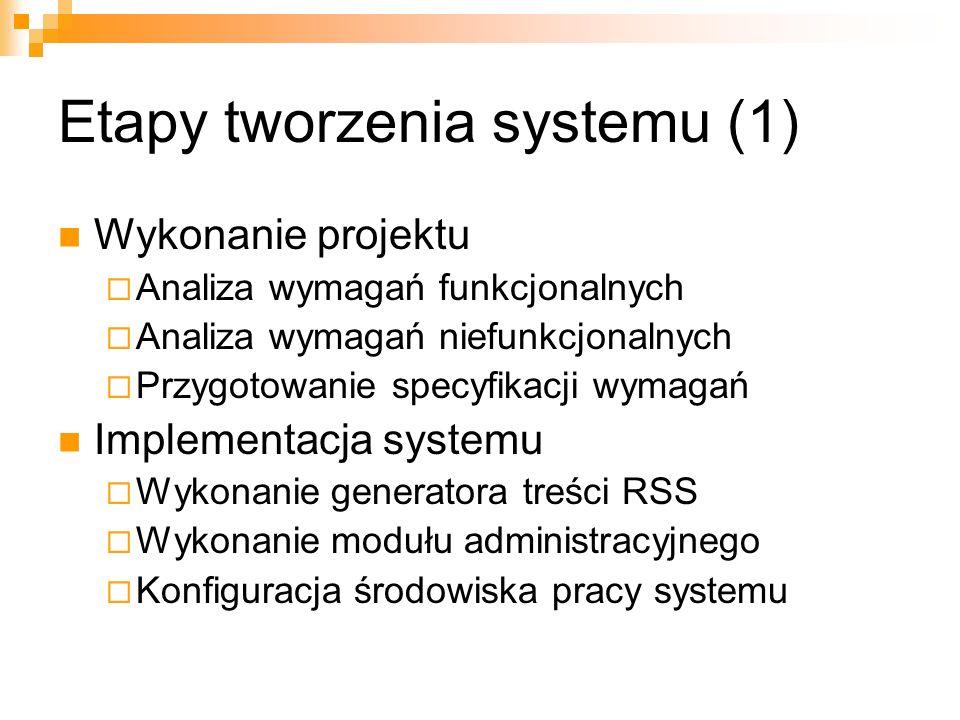 Etapy tworzenia systemu (1) Wykonanie projektu Analiza wymagań funkcjonalnych Analiza wymagań niefunkcjonalnych Przygotowanie specyfikacji wymagań Imp