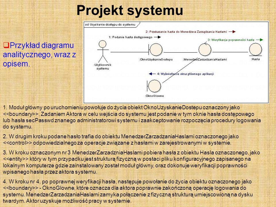 Projekt systemu Przykład diagramu analitycznego, wraz z opisem. 1. Moduł główny po uruchomieniu powołuje do życia obiekt OknoUzyskanieDostepu oznaczon