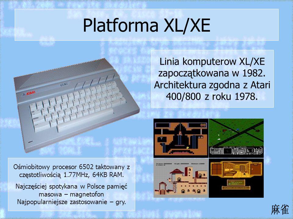 Platforma XL/XE Linia komputerow XL/XE zapoczątkowana w 1982. Architektura zgodna z Atari 400/800 z roku 1978. Ośmiobitowy procesor 6502 taktowany z c