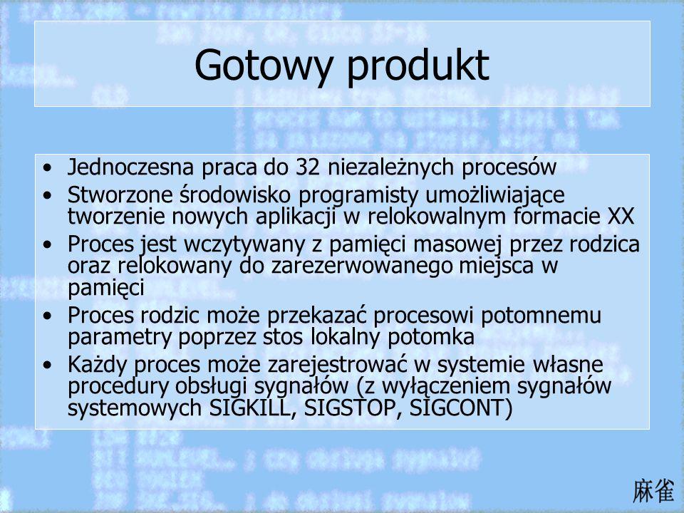 Gotowy produkt Jednoczesna praca do 32 niezależnych procesów Stworzone środowisko programisty umożliwiające tworzenie nowych aplikacji w relokowalnym
