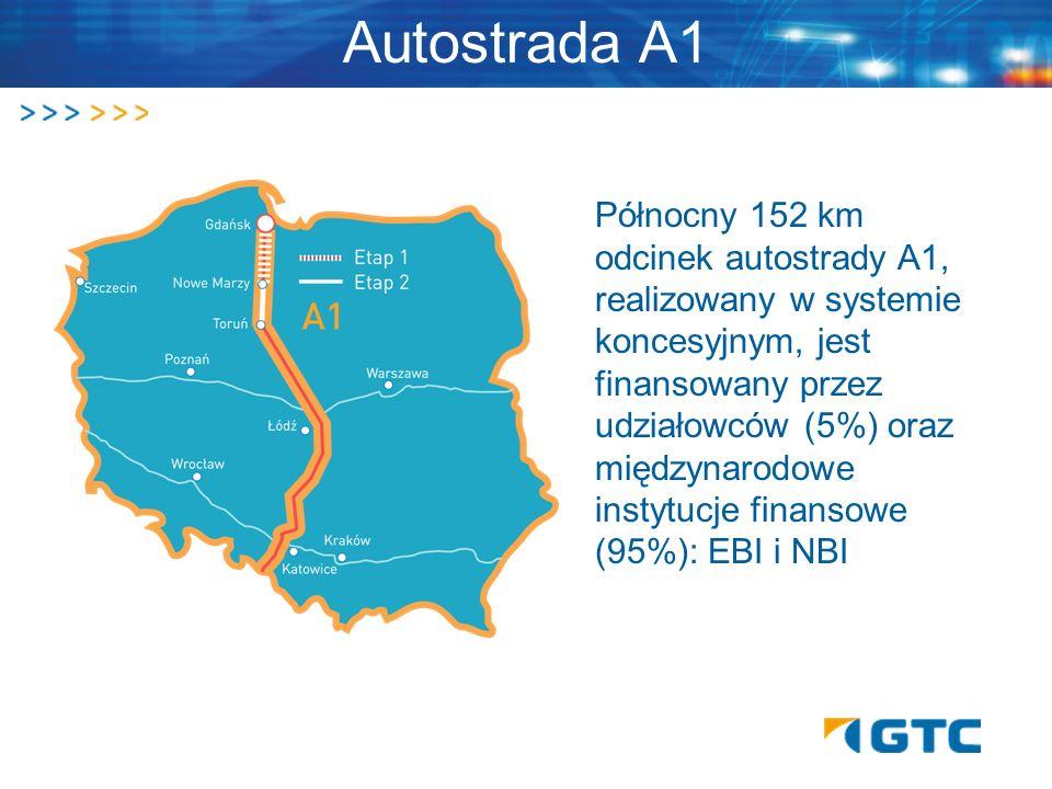 Autostrada A1 Północny 152 km odcinek autostrady A1, realizowany w systemie koncesyjnym, jest finansowany przez udziałowców (5%) oraz międzynarodowe i