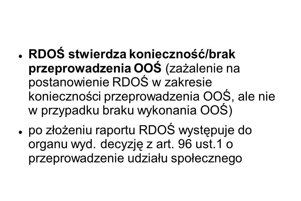 RDOŚ stwierdza konieczność/brak przeprowadzenia OOŚ (zażalenie na postanowienie RDOŚ w zakresie konieczności przeprowadzenia OOŚ, ale nie w przypadku braku wykonania OOŚ) po złożeniu raportu RDOŚ występuje do organu wyd.