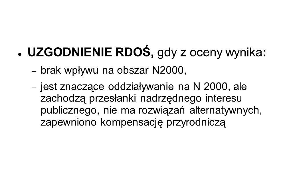 UZGODNIENIE RDOŚ, gdy z oceny wynika: brak wpływu na obszar N2000, jest znaczące oddziaływanie na N 2000, ale zachodzą przesłanki nadrzędnego interesu publicznego, nie ma rozwiązań alternatywnych, zapewniono kompensację przyrodniczą