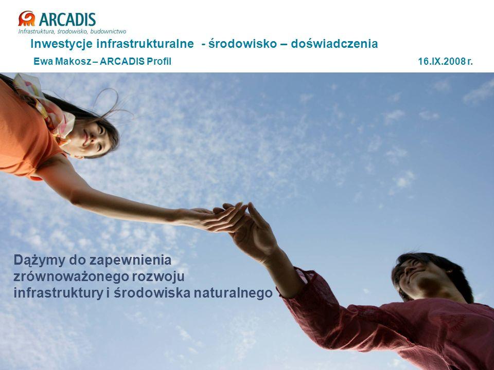 Plan prezentacji Prezentacja ARCADIS Wybrane projekty liniowe – autostrady i drogi ekspresowe – przykłady Ochrona środowiska w projektach liniowych - doświadczenia ARCADIS Podsumowanie