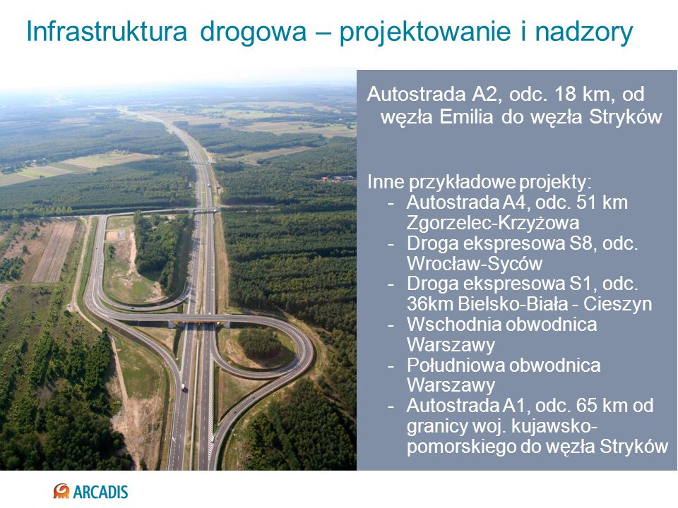 Infrastruktura drogowa – projektowanie i nadzory Autostrada A2, odc. 18 km, od węzła Emilia do węzła Stryków Inne przykładowe projekty: -Autostrada A4