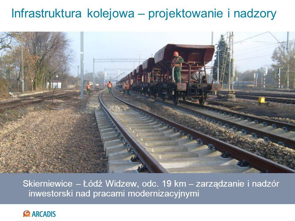 Infrastruktura kolejowa – projektowanie i nadzory Skierniewice – Łódź Widzew, odc. 19 km – zarządzanie i nadzór inwestorski nad pracami modernizacyjny